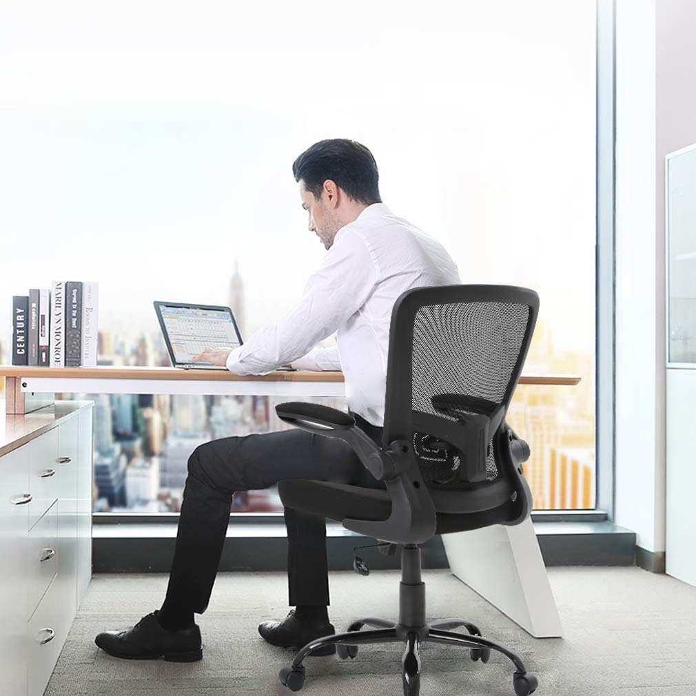 Ergonomic Office Chair Cheap Desk Chair Mesh Computer Chair with Lumbar Support Flip Up Arms Swivel Rolling Adjustable Mid Back Computer Chair for Women Men Adults,Black by BestOffice (Image #4)