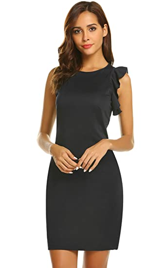 8fc8fe26e931 Image Unavailable. Image not available for. Color: Hersife Women's Business  Retro Ruffles Sleeveless Slim Cocktail Pencil Dress