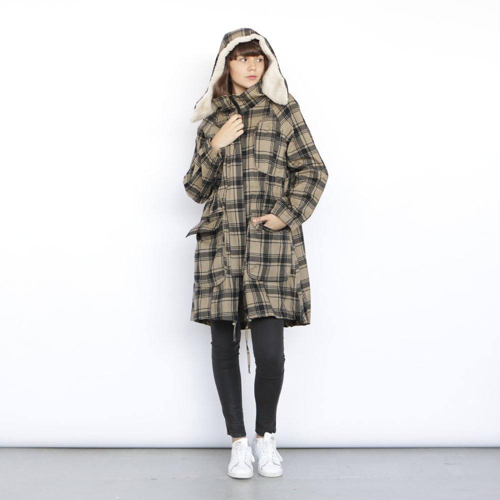 Monti Coat , plaid winter coat, military jacket. by Naftul