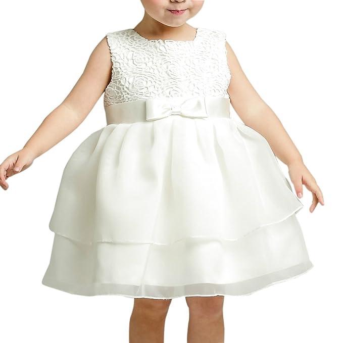 Z Niñas Vestidos De Bautizo Boda Desfile Arco Vestido Formal Blanco