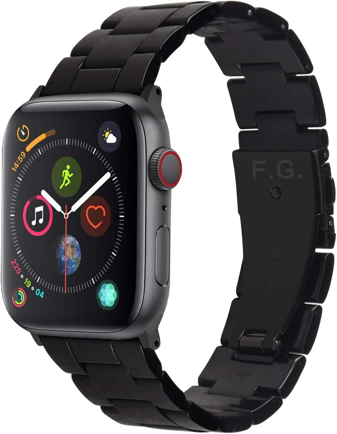 Fullmosa Compatible Apple Watch 38mm/40mm/42mm/44mm, Bright Resin Apple Watch Band for iWatch SE & Series 6/5/4/3/2/1, Hermes, Nike+, Edition, Sport, Black (Black Hardware) 38mm