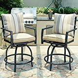 LOKATSE HOME Patio Height Chair Set of 2 Outdoor Swivel Bar Stools with Seat and Back Cushions, 2PCS, White-2
