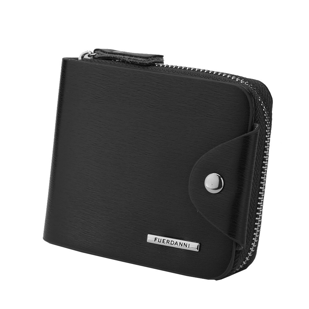Men's Zip Bifold Wallet Compact PU Leather Purse Short Style with ID window (Black, Small)