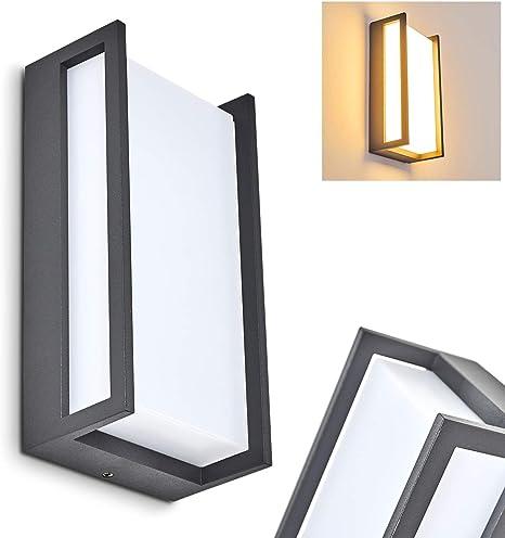 LED Außen Bereich Wand Leuchte anthrazit Glas Haus Tür Garten IP44 Beleuchtung