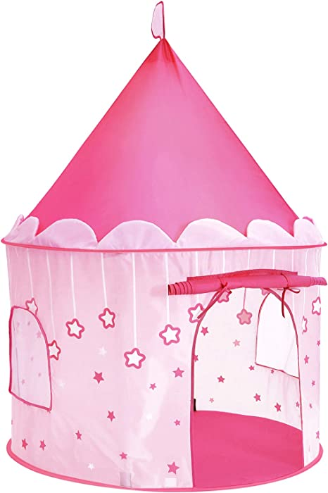 SONGMICS Tenda da Gioco Castello da Principessa per Ragazze e Bambini, Casetta dei Giochi per Interni ed Esterni, Tenda Portatile, Regalo per Bambini,
