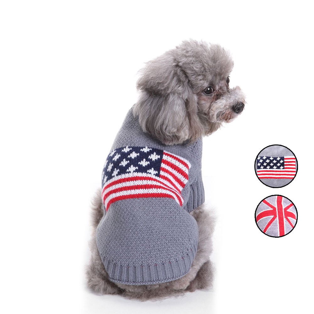 2 Patrones de punto de la bandera americana suéter de perro, prendas ...