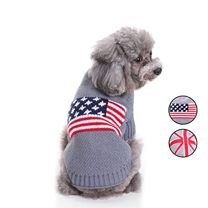 Amazon 2 Patterns American Flag Knitted Dog Sweater Holiday