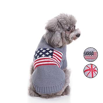 2 Patrones de punto de la bandera americana suéter de perro, prendas de punto ropa