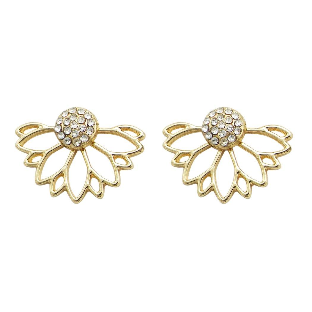 Rosemarie Collections Women's Crystal Flower Ear Jacket Stud Earrings