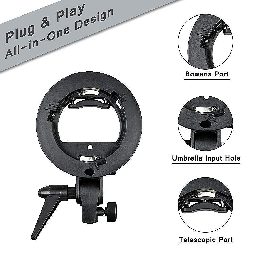 Soft boxes etc; with Bowens Mount Godox Bowens S-Type Bracket for Snoot Windows Beauty Dishes