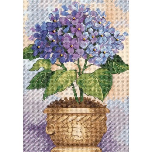 """Gold Petite Hydrangea In Bloom Counted Cross Stitch Kit-5""""X7"""