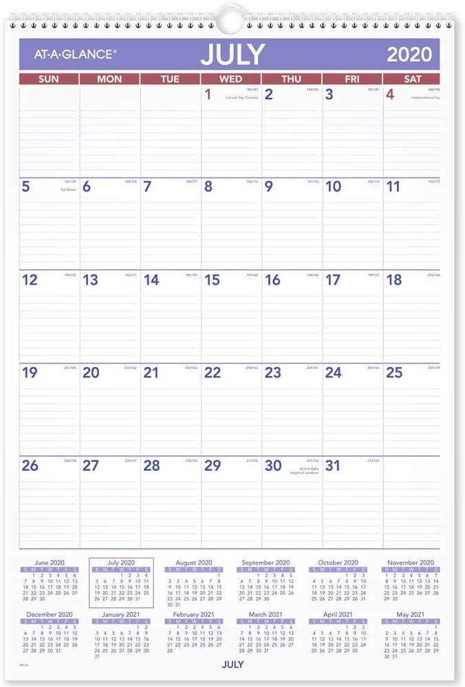 "Academic Wall Calendar 2020-2021, AT-A-GLANCE, 15-1/2"" x 22-3/4"", Large, Wirebound, Plan-A-Month (AY328)"