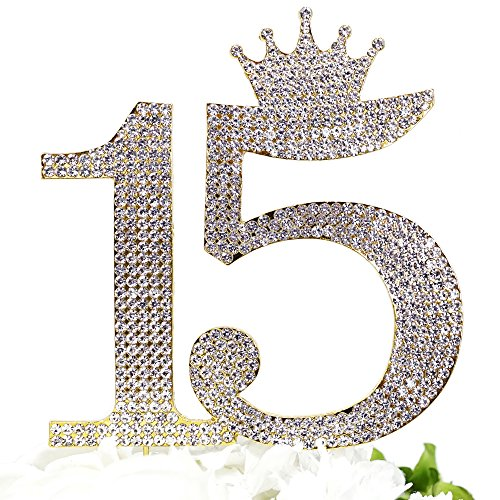 Number 15 Quinceanera Rhinestone Princess Crown Monogram Cake Topper - Sweet 15th Birthday Party (Gold) ()