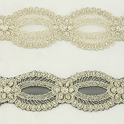 Gold metallic lace trim metallic ribbon trim by the yard for fabric Millinery accent motif scrapbooking card making lace decoration baby headband hair accessories dress accessories Bridal beaded trim by Annielov trim #293