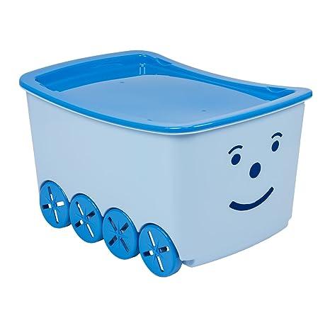 BranQ Play Box Caja para guardar juguetes, 52 l, con ruedas y tapa,