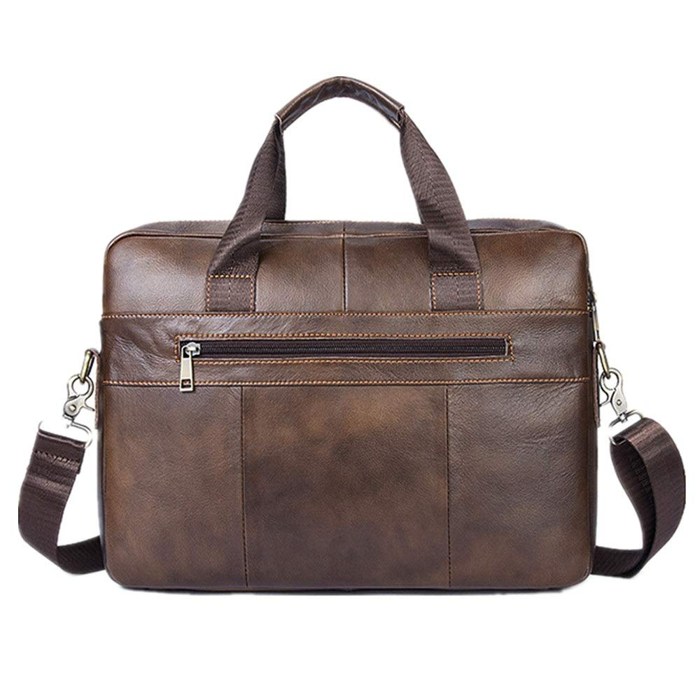 Color : Brown, Size : Free Size FeliciaJuan Handmade Leather Briefcase Mens Leather Briefcase Messenger Bag Tote Retro Large Capacity Tote