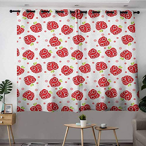 VIVIDX Window Curtain Panel,Apple Geometric Shapes Patterned Apples Curves and Circles on Dotted Background,Energy Efficient, Room Darkening,W63x63L Blush Red Apple Green