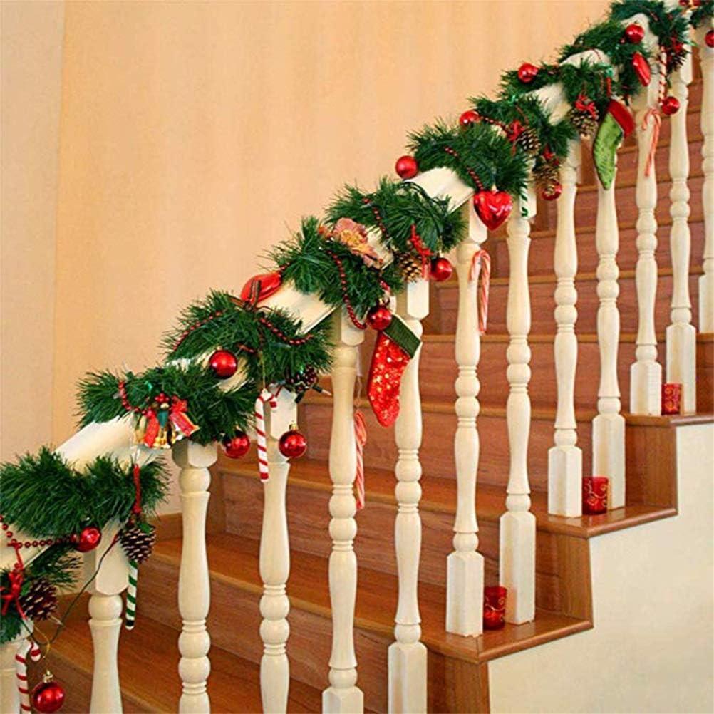 Weihnachten Girlanden Tannengirlande Weihnachten H/ängende Girlande Dekogirlande Rattan Girlande Packung Weihnachtskiefer Wand Gartendekoration Tannengirlande K/ünstlich 5.5M