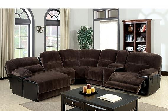 Amazon.com: kirawsk Seccional sofá tapizado en café oscuro ...