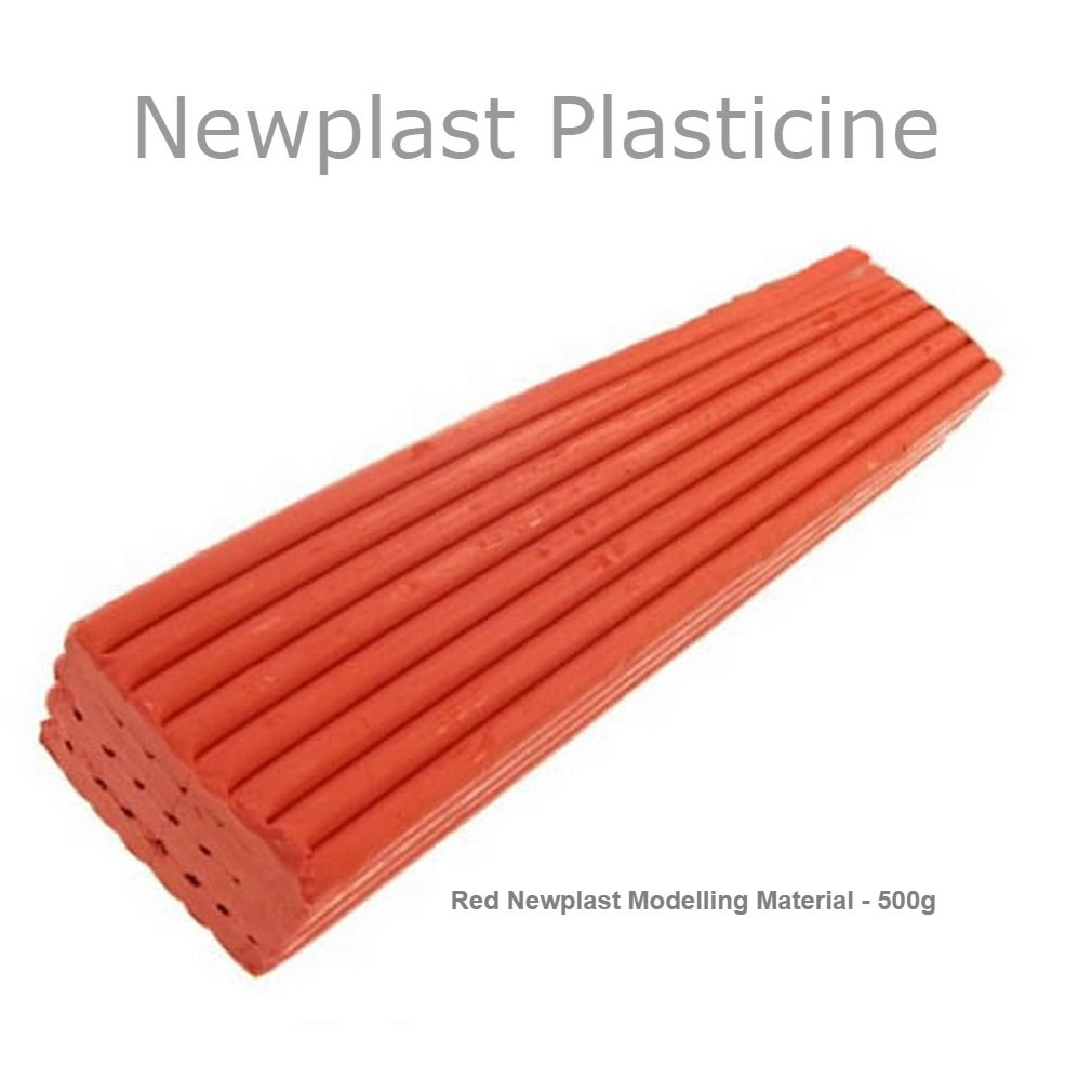 Red Newplast Plasticine Modelling Clay Animators Choice Moulding Material Non Toxic Non Hardening Bar (1 Block - 500g) Newclay
