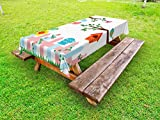 Lunarable Birds Outdoor Tablecloth, Pastel Colored Birds in The Yard with Birdhouses Trees and Fence Colorful Cartoon, Decorative Washable Picnic Table Cloth, 58 X 84 inches, Multicolor