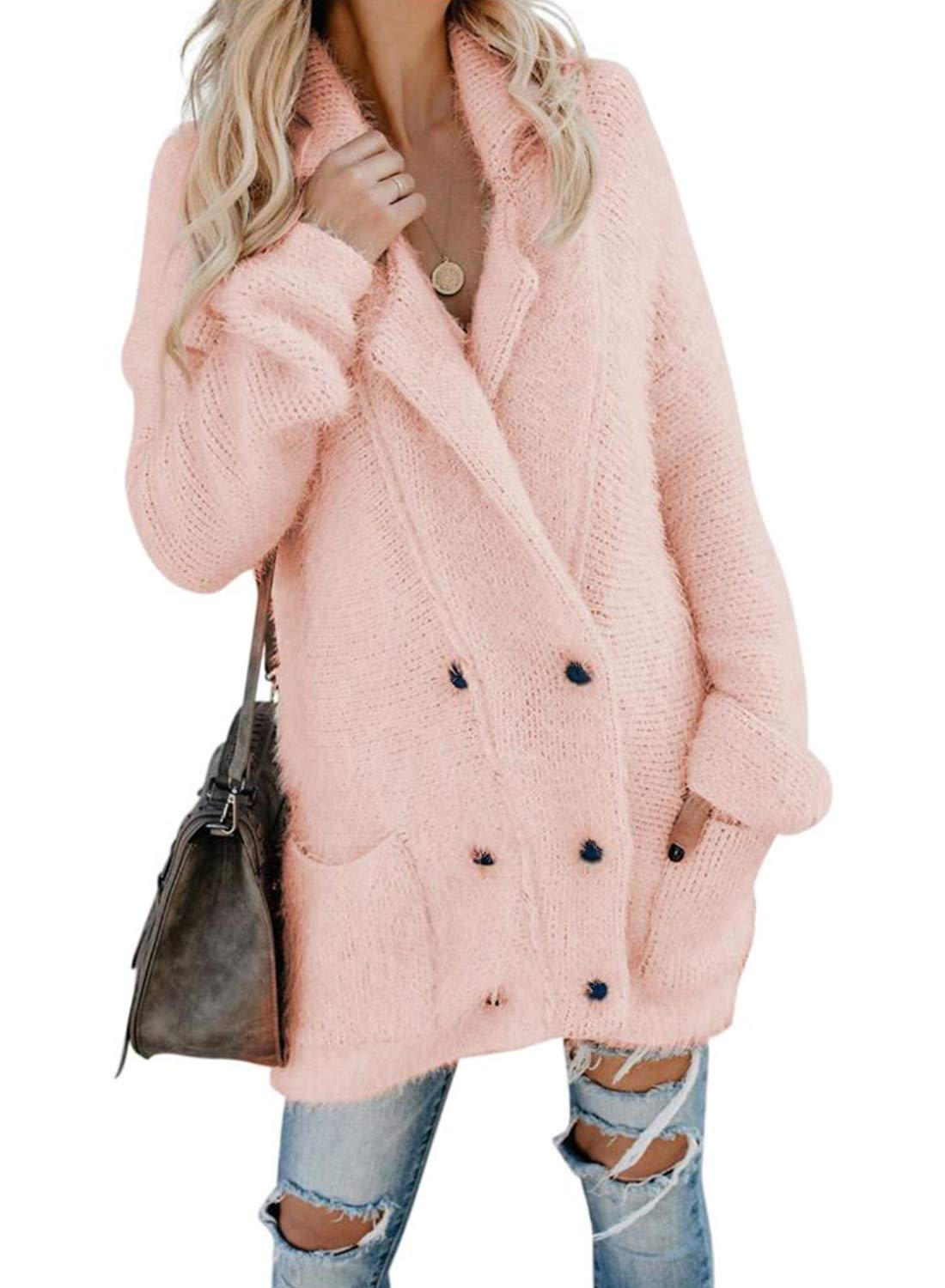 Asvivid Womens Cozy Open Front Fleece Sweater Cardigans Button Up Loose Ladies Soft Thick Winter Warm Coats Jacket M Pink by Asvivid