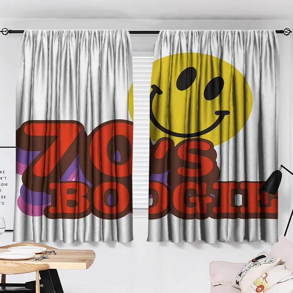 Jinguizi 70s Party Curtain for Bathroom Seventies Boogie Funny Smiling Emoticon Humorous Amusing Vibrant Print Household Darkening Curtains Yellow Red Purple W55 x L39 by Jinguizi (Image #2)
