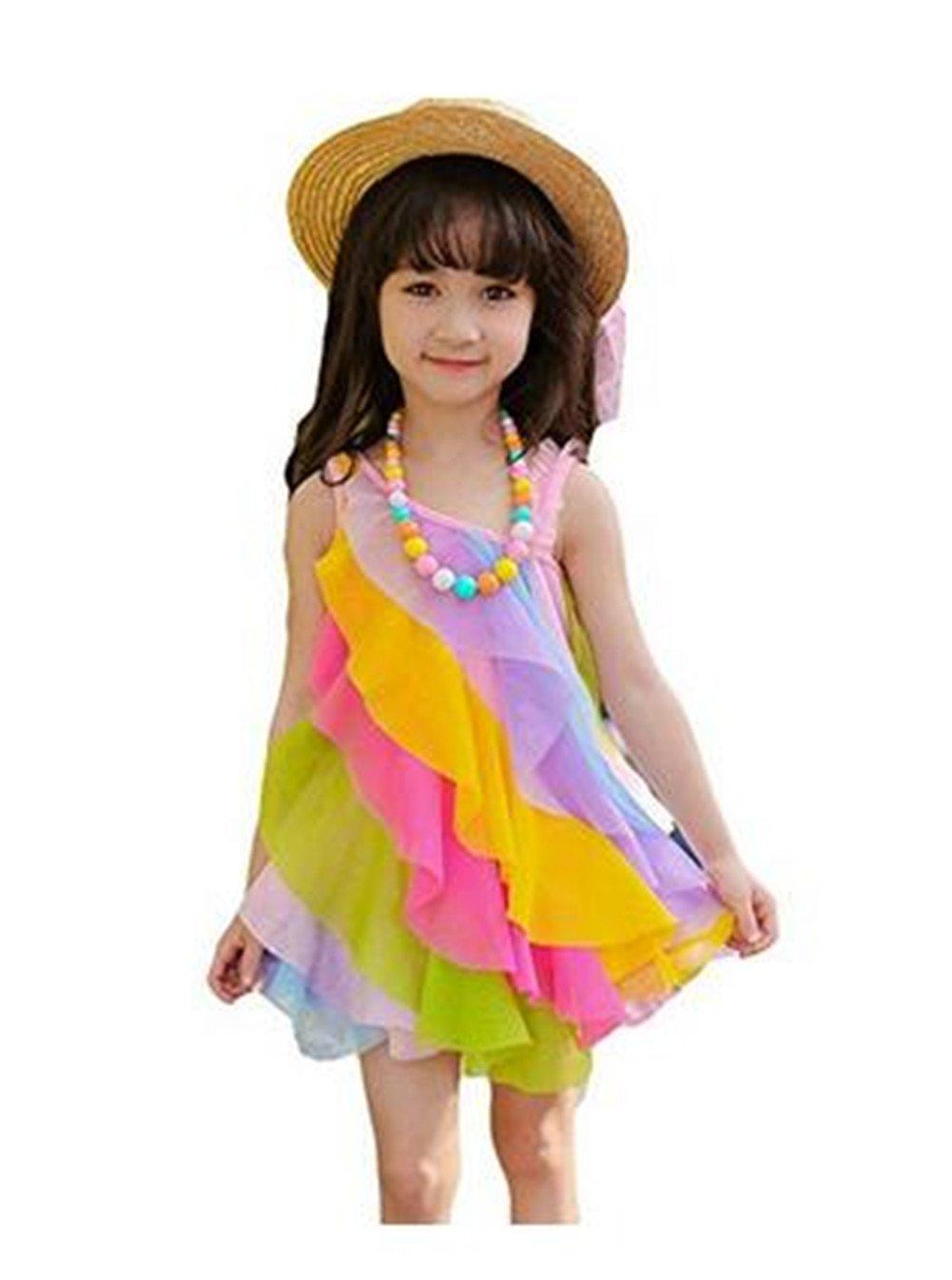 Seiyue Kid Girls Dresses Sweet Rainbow Beach Skirts