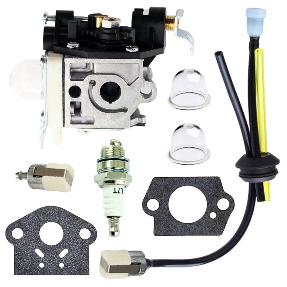 QAZAKY Carburetor with Fuel Filter Maintenance Kit Spark Plug for Zama RB-K85 Echo PB-251 PB-265L PB-265LN A021001350 A021001351 A021001352 Power Blower Carb