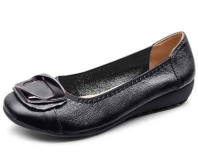 Women's Genuine Leather Comfort Ballet Flats Slip On Dress Shoes