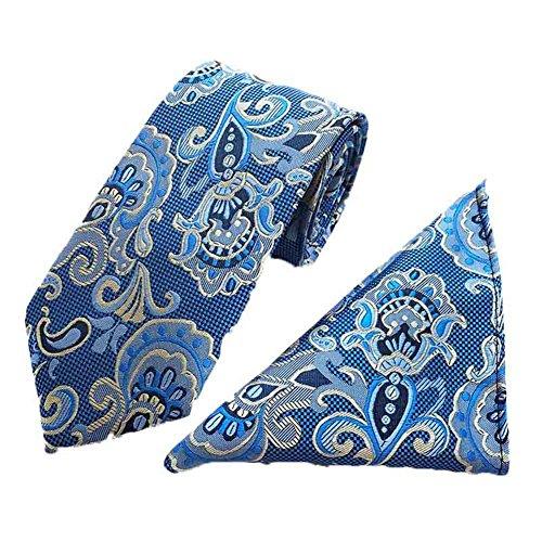 2 Piece Polka Dots Tie (MENDENG Men's Blue Yellow Paisley Polka Dots Silk Tie Necktie Hanky 2 Pieces Set)