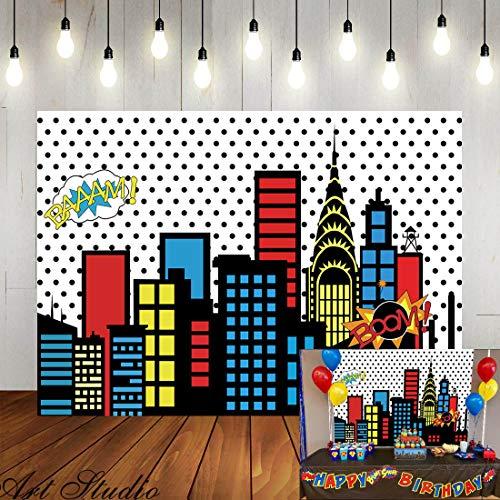 Art Studio 5x3ft Superhero Super City Photography Backdrops Skyline Buildings City Boom Photo Background Children Birthday Party Banner Photo Studio Booth Cake Table Decor Vinyl]()