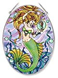 Amia Oval Suncatcher with Mermaid Design, Hand Painted Glass, 6-1/2-Inch by 9-Inch