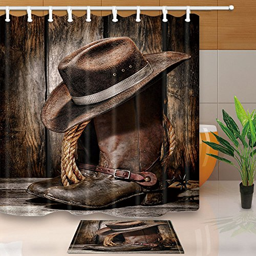 Cowboy Western Door Curtain - NYMB Western Farmhouse Shower Curtains, Rustic Cowboy Leather Boots with Hat on Wooden,Waterproof Polyester Fabric 70X70in Shower Curtain Set with 15.7X23.6in Bathroom Doormat Bath Rugs