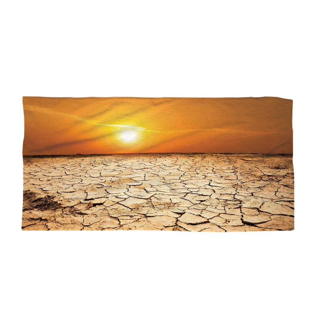 iPrint Cotton Microfiber Beach Towel,Desert,Drought Land and Hot Weather Climate Theme Sun Arid Country Landscape,Sand Brown Orange Yellow,for Kids, Teens, and Adults