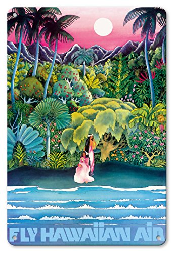Hawaii Tin (Pacifica Island Art 8in x 12in Vintage Metal Tin Sign - Fly Hawaiian Air - Hawaii Women on the Beach - Hawaiian Airlines)