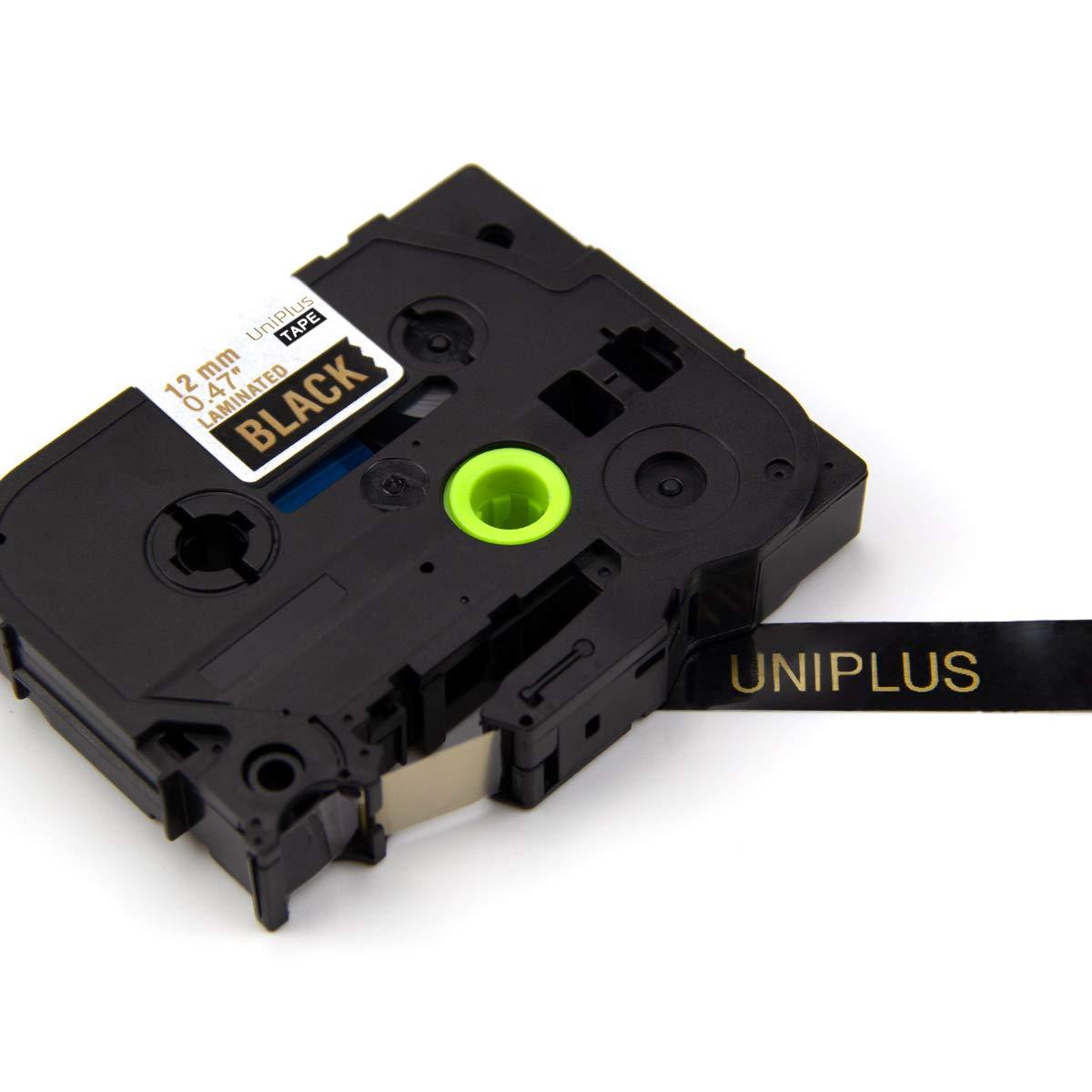 12mm x 8m UniPlus 4x Tze-334 Tze334 Tze Tape Oro su Nero Laminato Nastro Cassette Etichette Compatibile per Brother P-Touch Cube PT 1000 1010 H1005 H100LB H101C H105 H107 P700 E100 D600VP H75 D400
