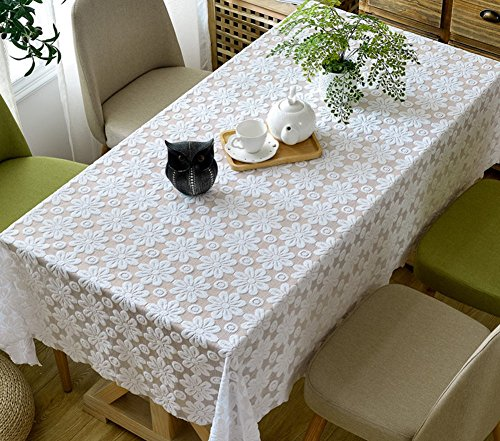 589 Dining Set - White lace tablecloth rectangular cloth european style hollow cover cloth-A 140x200cm(55x79inch)