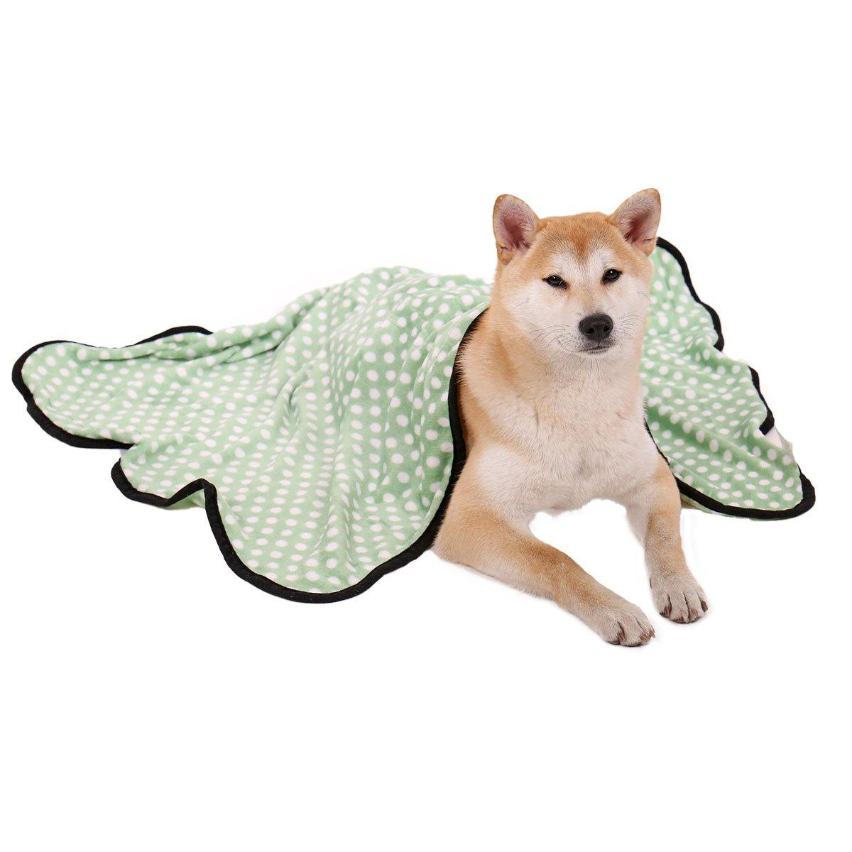 Dog Cat Velvet Blanket ,Speedy Pet Puppy Cushion Soft Warm Sleep Mat Blankets for All Kinds of Small Medium Large Animals Green M