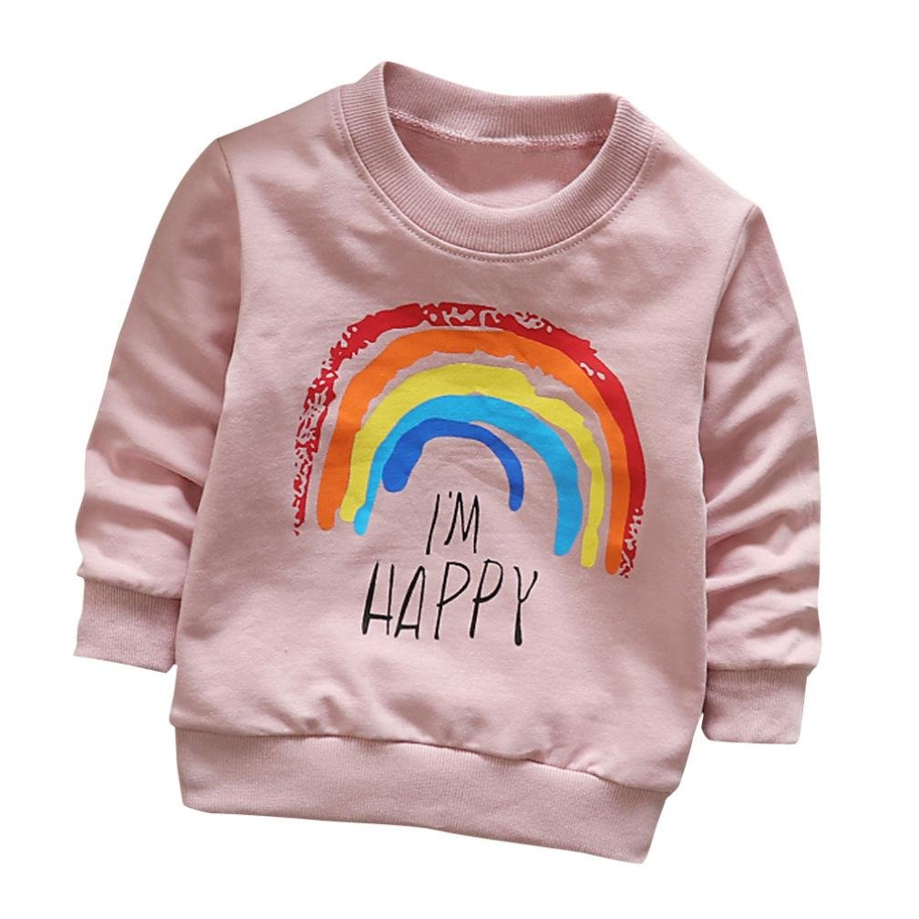 Anglewolf Toddler Kids Girls Boys Long Sleeve Rainbow Printing Soft Cotton Casual Tops T-Shirt Fashion O-Neck Pullover Kids Outfits Baby Clothes for 6M~3 Years Old Unisex Kids