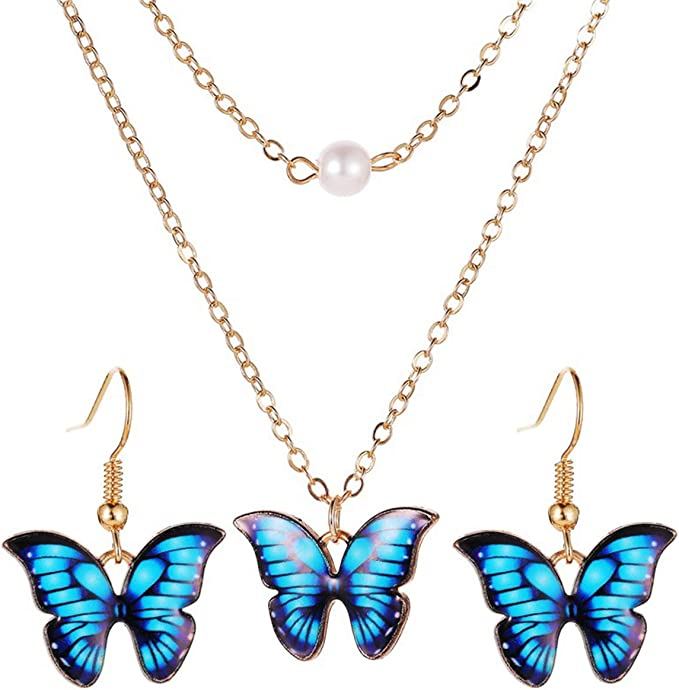 boho style jewelry iridescent wings charm pendant sterling silver butterfly necklace best friend gifts choker necklace with pendant
