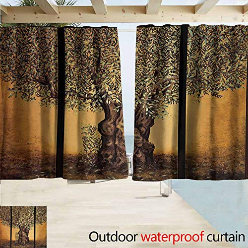 (Lcxzjgk Tree of Life Outdoor Grommet Window Curtain Triptych of Old Mature Olive Tree Mediterranean Greece Style Nature Graphic Perfect for Your Patio, Porch, Gazebo, or Pergola W55 xL45 Multicolor)