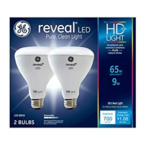G E LIGHTING 30691 Reveal HD+ LED Light Bulbs, 700 Lumens, 9-Watts, 2-Pk. - Quantity 1