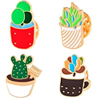 Bullidea 4Pcs Metal Pin Badge Brooch Lovely Cactus Christmas Festive Brooch Pin Corsage for Suit Shirt Sweater