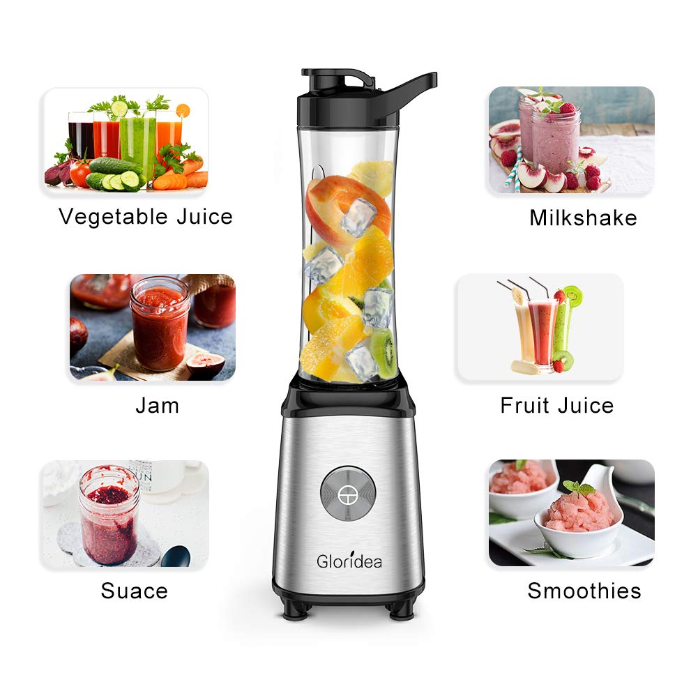Personal Blender for Shakes and Smoothies - Powerful Drink Mixer with 20 Oz To Go Bottle, Single Use Juicer with Easy One Touch Operation, Great for Sports, Travel, Gym and Office (with Silicone Ice Cube Tray & Bottle Brush) by Gloridea (Image #2)