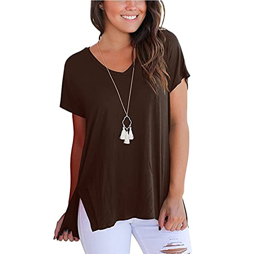 c0eda0182730d Women s Casual Short Sleeve Breathable High Low Loose T-Shirt Tee Tops for  Summer(