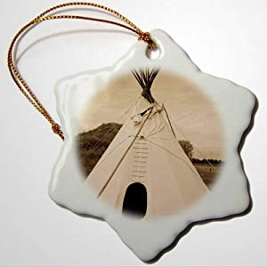 BYRON HOYLE Native American USA Nebraska Stuhr Museum of The Prairie Pioneer Teepee Ornaments Snowflake Ornament Christmas Ornaments Pandemic Xmas Decor Holiday Present