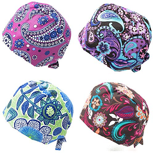Rusoji 4pc Women Men Adjustable Sweatband Bouffant Scrub Cap Hat, One Size Fits Most (Set D)