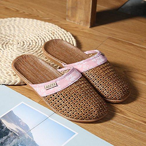 Femmes 40Pink Été Bambou Hommes Rotin 36 39 35 Pantoufle Xing Guang Intérieur Linge Pantoufles pink Et Sandales Fond Floor Non Extérieur Soft slip Maison Pantoufles LqVpMUzSG