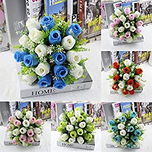 YJYdada 18Head Artificial Silk Roses Flowers Bridal Bouquet Rose Home Wedding Decor (A) 4